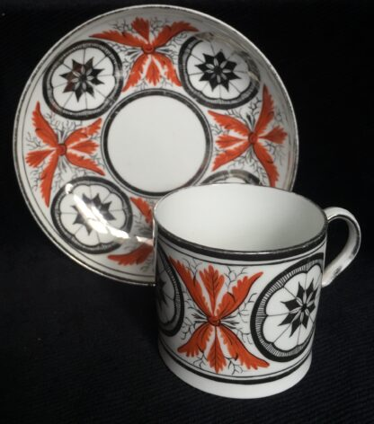 Davenport coffee can & saucer, bute shaped with platinum dec., c. 1810 -15344