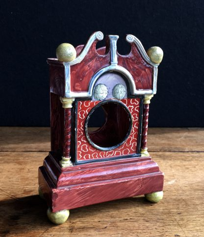 Pearlware 'bracket clock' pocket watch stand, C. 1820 -0