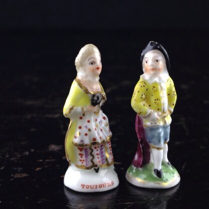 Pair of Commedia Chelsea seals - Lady & Gent, C. 1760 -0