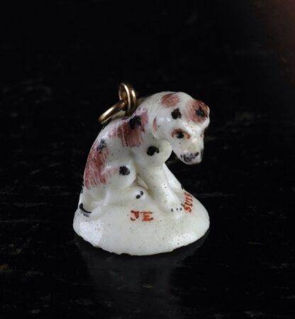 Girl-in-a-Swing fob seal, dog, JE SUIS FIDELLE, c.1755-3546