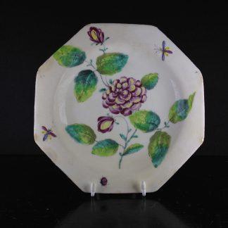 Bow hexagonal botanical plate, Circa 1765 -0