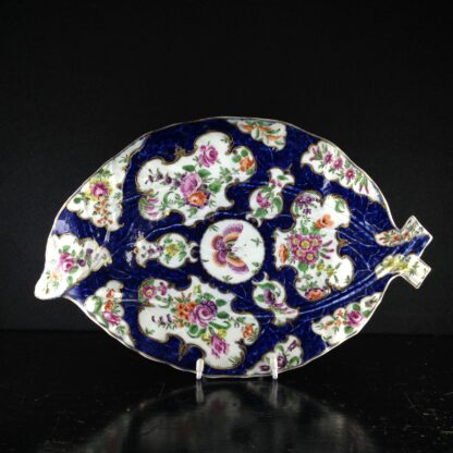 Worcester leaf dish of large size, scale blue & flowers, c. 1770 -0