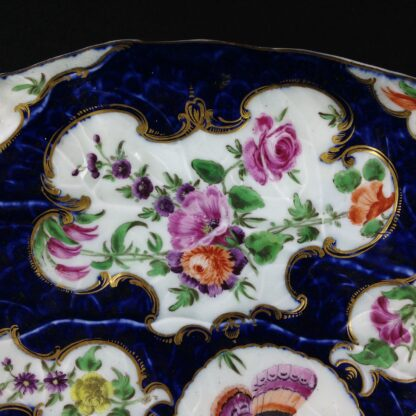 Worcester leaf dish of large size, scale blue & flowers, c. 1770 -3728