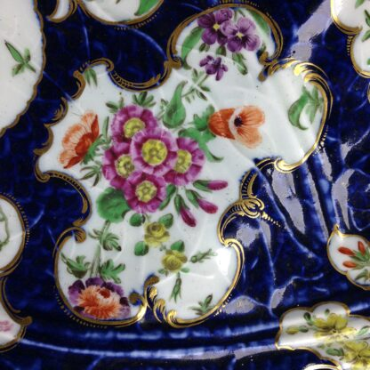 Worcester leaf dish of large size, scale blue & flowers, c. 1770 -3729