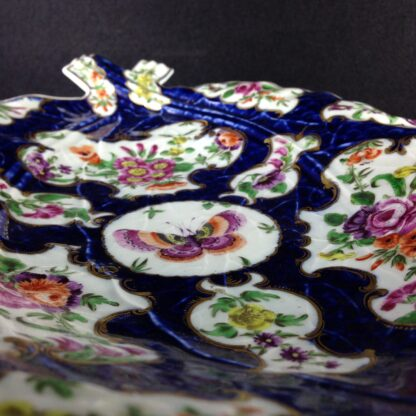 Worcester leaf dish of large size, scale blue & flowers, c. 1770 -3733