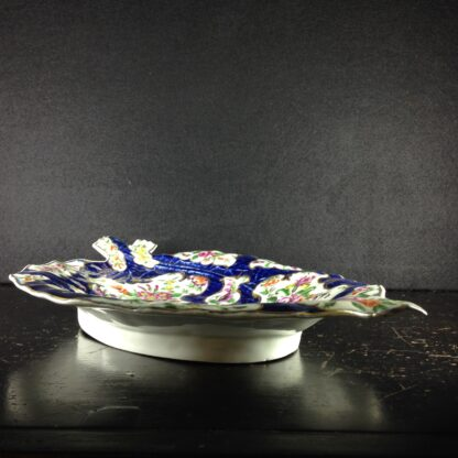 Worcester leaf dish of large size, scale blue & flowers, c. 1770 -3734