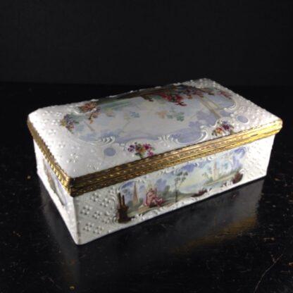 Large English enamel writing box, classical scenes, c. 1765 -3735