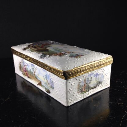 Large English enamel writing box, classical scenes, c. 1765 -3736