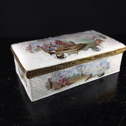 Large English enamel writing box, classical scenes, c. 1765 -0