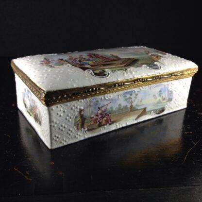 Large English enamel writing box, classical scenes, c. 1765 -3740