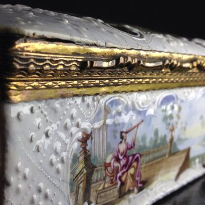Large English enamel writing box, classical scenes, c. 1765 -3745