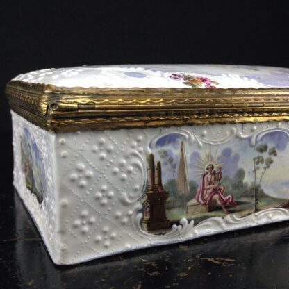 Large English enamel writing box, classical scenes, c. 1765 -3747