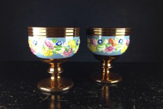Pair of English lustre goblets, flower moulded, c. 1850-0