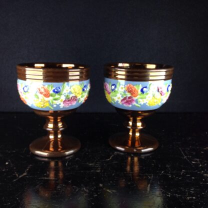 Pair of English lustre goblets, flower moulded, c. 1850-3828