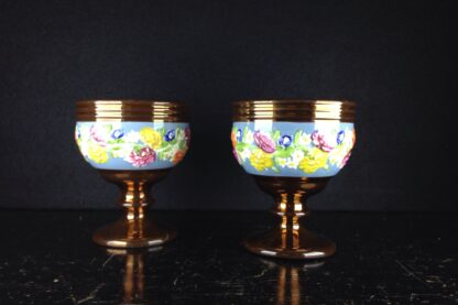Pair of English lustre goblets, flower moulded, c. 1850-3829