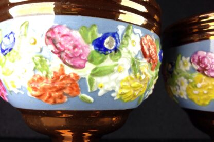 Pair of English lustre goblets, flower moulded, c. 1850-3832