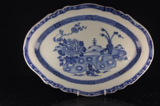 Irish delft serving dish, large size, Vase of Feathers pattern, c.1760 -0