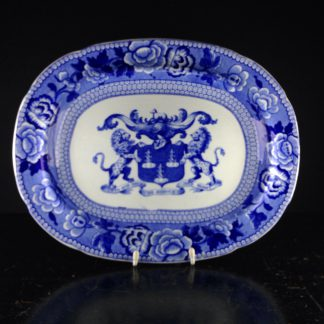 Riley Drapers Guild armorial blue & white serving dish, C. 1820 -0