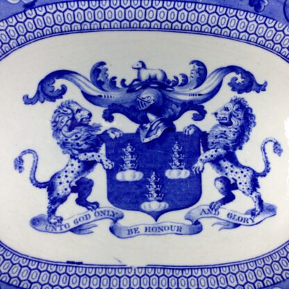 Riley Drapers Guild armorial blue & white serving dish, C. 1820 -3863