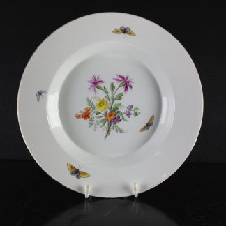 Berlin soup plate, flowers & butterflies, c.1790-0