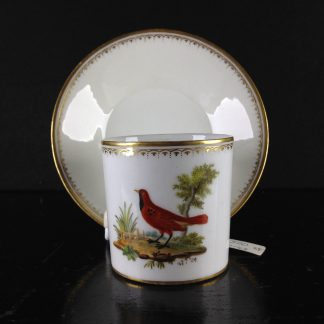 French ornithological cup & saucer, Circa 1810 -0