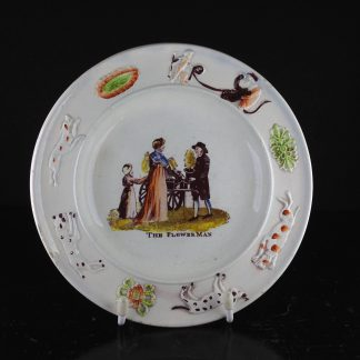 Swansea child's plate, titled The Flower Man, circa 1830 -0