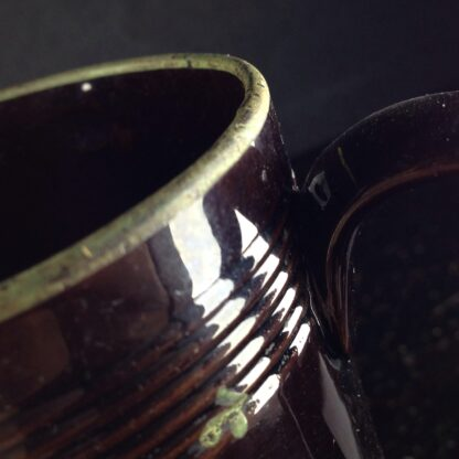 Jackfield type mug with fired enamel flowers, c. 1780 -4018