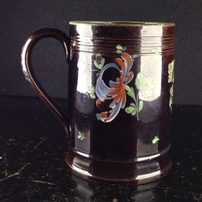 Jackfield type mug with fired enamel flowers, c. 1780 -4023