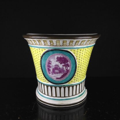 Creamware bough pot with basketweave & country scene print, C. 1790 -4089