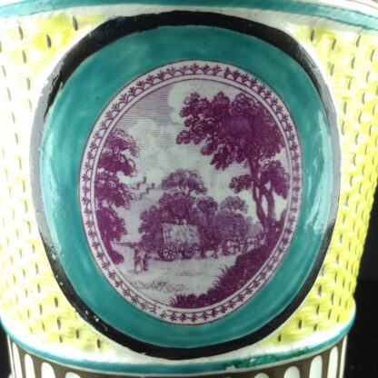 Creamware bough pot with basketweave & country scene print, C. 1790 -4093
