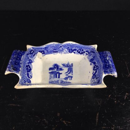 Staffordshire pickle dish, willow pattern, c.1820-4108