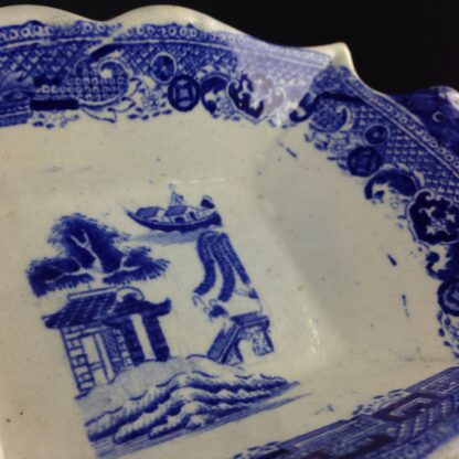 Staffordshire pickle dish, willow pattern, c.1820-4110