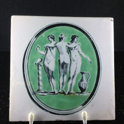 Liverpool delft 'three graces' tile, Guy Green print, c. 1770. -0
