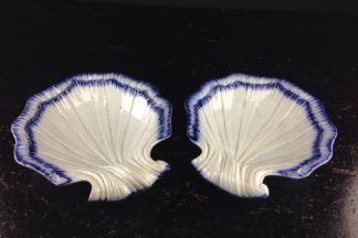 Pair of Pearlware shell shaped sweetmeats, C. 1790 -0