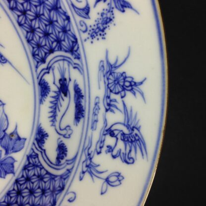 Chinese blue &white plate, birds & flowers. c.1750. -4181