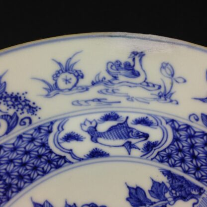 Chinese blue &white plate, birds & flowers. c.1750. -4182