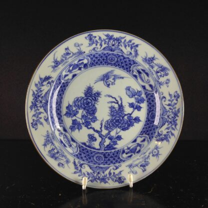 Chinese blue &white plate, birds & flowers. c.1750. -0