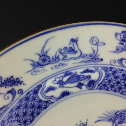 Chinese blue &white plate, birds & flowers. c.1750. -4185