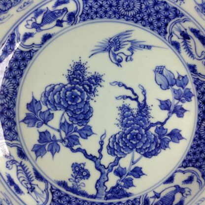 Chinese blue &white plate, birds & flowers. c.1750. -4186
