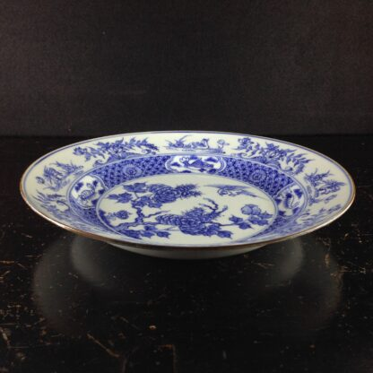 Chinese blue &white plate, birds & flowers. c.1750. -4188