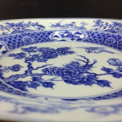 Chinese blue &white plate, birds & flowers. c.1750. -4189