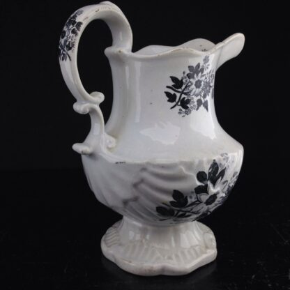 Black printed jug, shell moulded, possibly Welsh C. 1835. -4193
