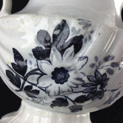 Black printed jug, shell moulded, possibly Welsh C. 1835. -4195