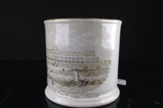 Burton small pottery mug, print of Eastbourne, c.1850-0