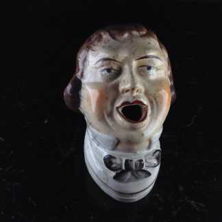 Staffordshire quill holder, a mans head, c. 1850 -0