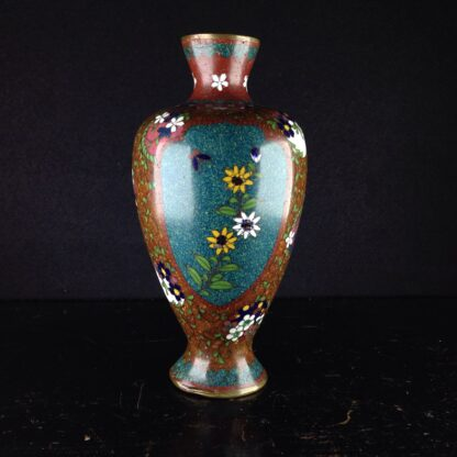 Japanese cloisonné vase with flowers & birds, 19th century -0