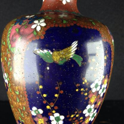 Japanese cloisonné vase with flowers & birds, 19th century -4292