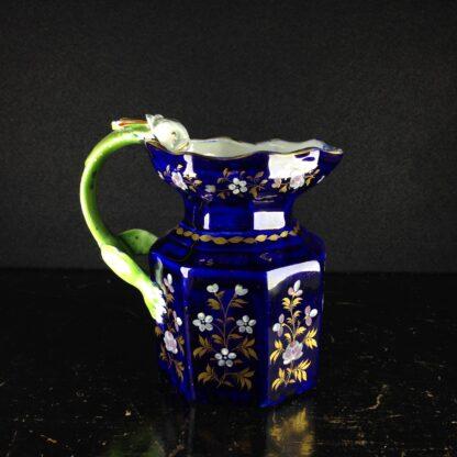 Masons Ironstone jug, blue ground with hydra handle, c. 1820. -4349