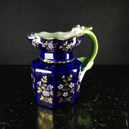 Masons Ironstone jug, blue ground with hydra handle, c. 1820. -0