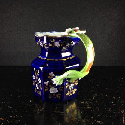 Masons Ironstone jug, blue ground with hydra handle, c. 1820. -4354